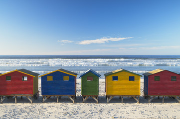 Beach huts on Muizenburg beach, Cape Town, Western Cape, South Africa