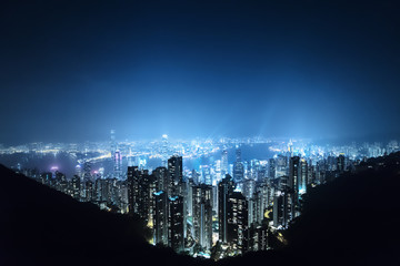 Fototapete - Hong kong from the Victoria peak