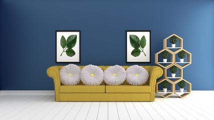 Mock up, hipster living room interior design. 3D rendering
