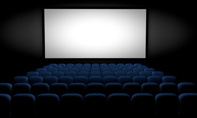 movie theater with blue seats and blank screen