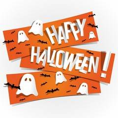 Happy Halloween card design elements on background, vector illustration