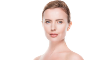 Portrait of woman with clean fresh skin isolated on white