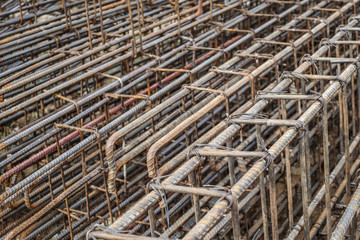 steel rebar for reinforced concrete at building construction site