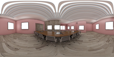 3d illustration spherical 360 vr degrees, a seamless panorama of the room and office interior design