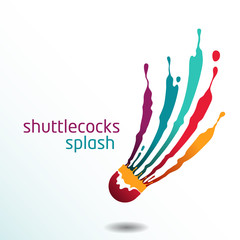 shuttlecocks splash badminton vector