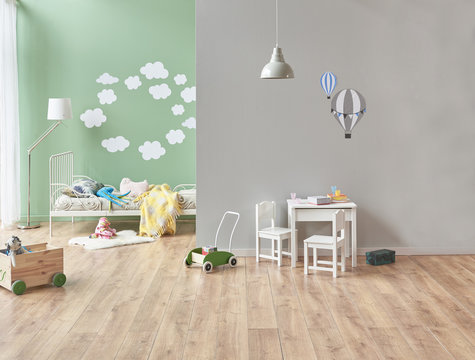 new style baby room green and grey wall concept. Bed pattern and lamp concept with toys style. baby room