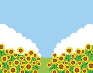 ひまわり畑のメッセージ素材イラスト
