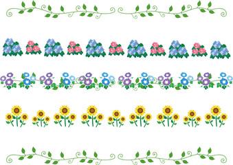 夏の花 罫線、ラインセット