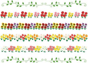 春の花 罫線、ラインセット