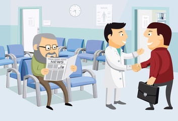 Interior at the work office. Waiting room in office width patients and doctor. Private medical practice. The best medical health care. Cartoon vector illustration in perspective.