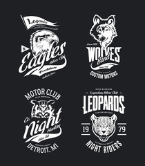 Vintage leopard, wolf, eagle and owl bikers club t-shirt vector isolated logo set