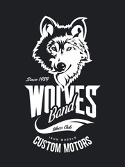Vintage wolf custom motors club t-shirt vector logo on dark background.