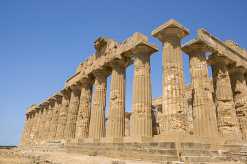 Ancient temples of Selinunte in Agrigento in Sicily in Italy