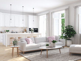 modern living room in townhouse. 3d rendering