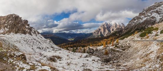 Dolomitic background from Passo Valparola, Dolomites,
