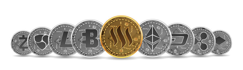 Set of gold and silver crypto currencies with golden steem in front of other crypto currencies as leader isolated on white background. Vector illustration. Use for logos, print products