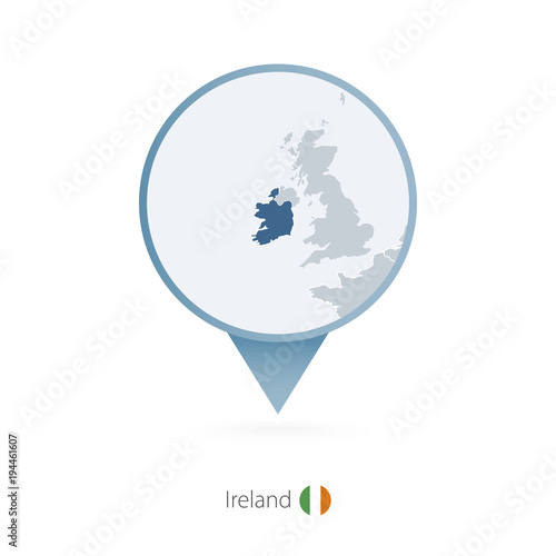 Detailed Map Of Ireland Vector.Map Pin With Detailed Map Of Ireland And Neighboring Countries