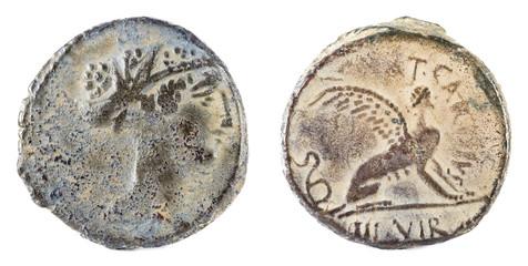 Roman Republic Coin. Ancient Roman silver denarius of the family Carisia.