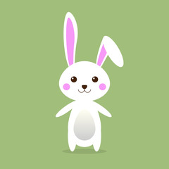 Little cute Bunny on green background with Happy Easter Egg for Easter greeting card, invitation, Vector illustration EPS10