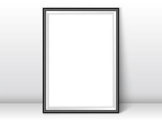Frame template near wall on the floor realistic vector black