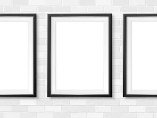 Frames photo gallery mock up white brick wall vector black