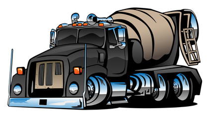 Cement Mixer Truck Cartoon Vector Illustration