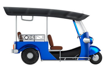 3d rendering side views isometric cartoon style of Tuk Tuk, Thai traditional taxi for public transportation, isolated on white background with clipping paths.