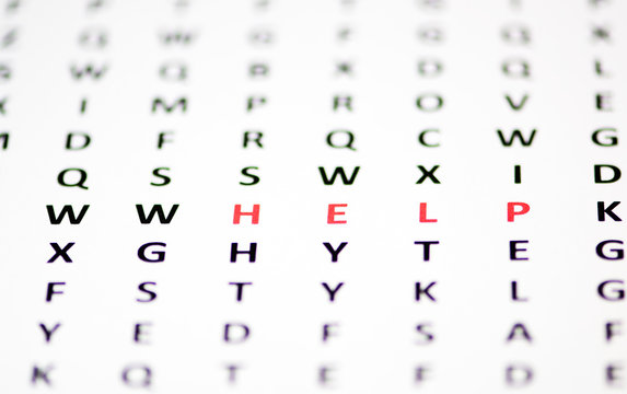 The word Help marked out in a wordsearch.
