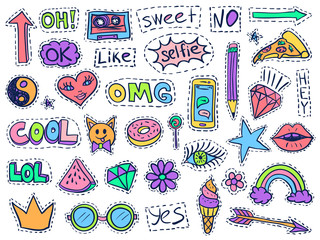 Patch badges set college doodles social media colorful 1