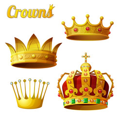 Set 3 of royal gold crowns isolated on white