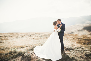 Happy wedding couple posing over beautiful landscape in the mountains