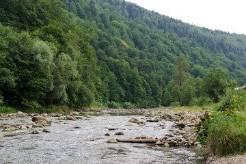 Landscape creek among stones surrounded by mountains and forests
