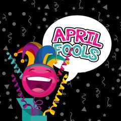 april fools day - happy emoticon streamers confetti celebration dark background vector illustration