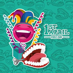 cheerful smile emoticon in box and prank teeth green background - 1st. april fools day vector illustration