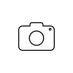 Camera icon. Flat design. Vector illustration. Grey on white background.