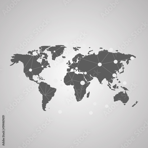 Detailed Vector World Map Of Gray Colors Names Town Marks And