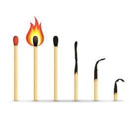 Burning, Lighted And Burnt Matches