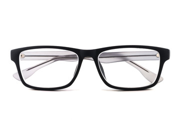 Black glasses on a white isolated background Wall mural