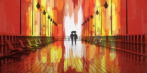 Couple on Boardwalk and Abstract Painting