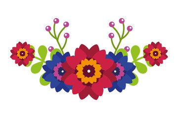 flowers leaves decoration arrangement natural vector illustration