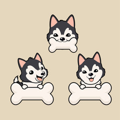 Close up head shot , set of Cute cartoon character design Dark Grey Siberian Husky dog ,bit white bone.