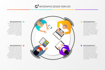 Office table top view business meeting. Infographic concept