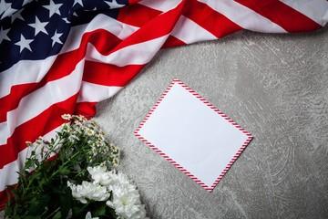 Fotoväggar - USA flag on grey background