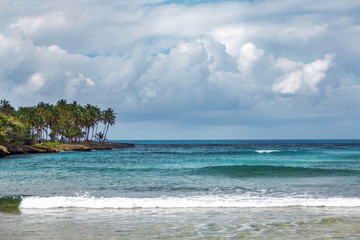 sea Bay in the Dominican Republic. Sea, shore with palm trees and sky with storm clouds