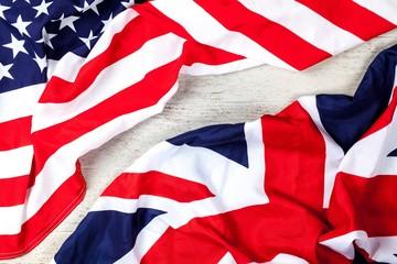 Fotoväggar - American and british flags