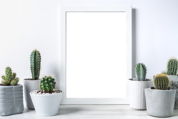 Many cactuses in concrete pots on white background and an empty picture frame