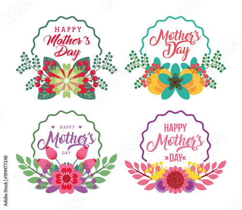 floral labels flowers delicate ornament happy mothers day vector illustration stock image. Black Bedroom Furniture Sets. Home Design Ideas