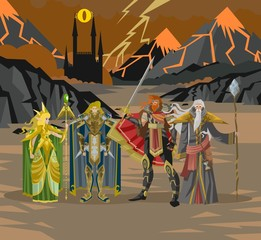 rpg videogame fantasy party warriors in volcano land