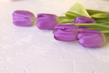 purple pink tulips glass beads on the table, the spring of love the beauty of concrete background
