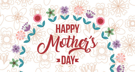 happy mothers day card flowers half wreath floral background vector illustration